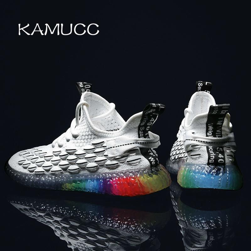 2019 New Men Casual Shoes Breathable Male Shoes Fashion Rainbow Sole Shoes Lightweight Comfortable Breathable Walking Sneakers LY191210