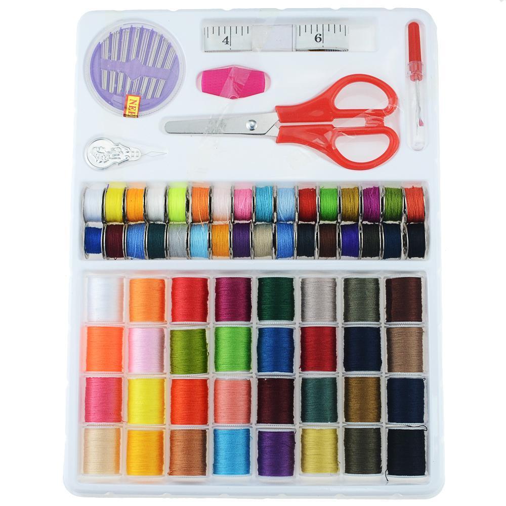 64pcs / Set de poliéster Color de la máquina de bordado Hilos de coser a mano del hilo de coser Craft Patch fuentes de costura 64pcs / Set color lDAXt