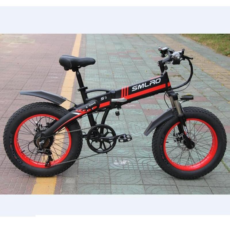 1000W Elektrikli Bisiklet Yağ Lastik Dağ bisikleti Erkekler 48V 10Ah Battery35km / saat Ebike 20 İnç 7 hız Fat Tire E Bisiklet Elektrikli Bisiklet
