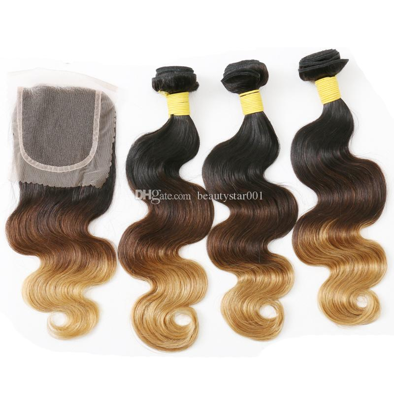Ombre Brazilian Hair With Lace Closure 1b 4 27/30 Blonde Body Wave Human Hair Bundles With Closure 3 Tone Ombre Hair Extensions