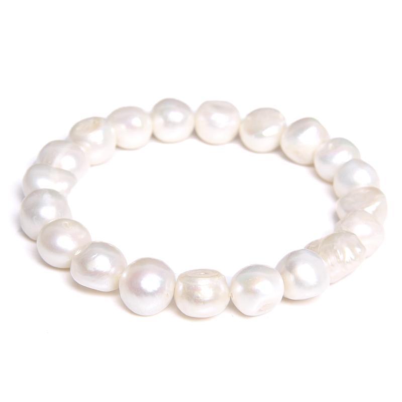 Kadınlar Takı Hediyeler için Beyaz 10-11MM Gerçek hakiki Doğal İnci Bileklik Barok İnci Elastik Boncuklu bileklik Zinciri