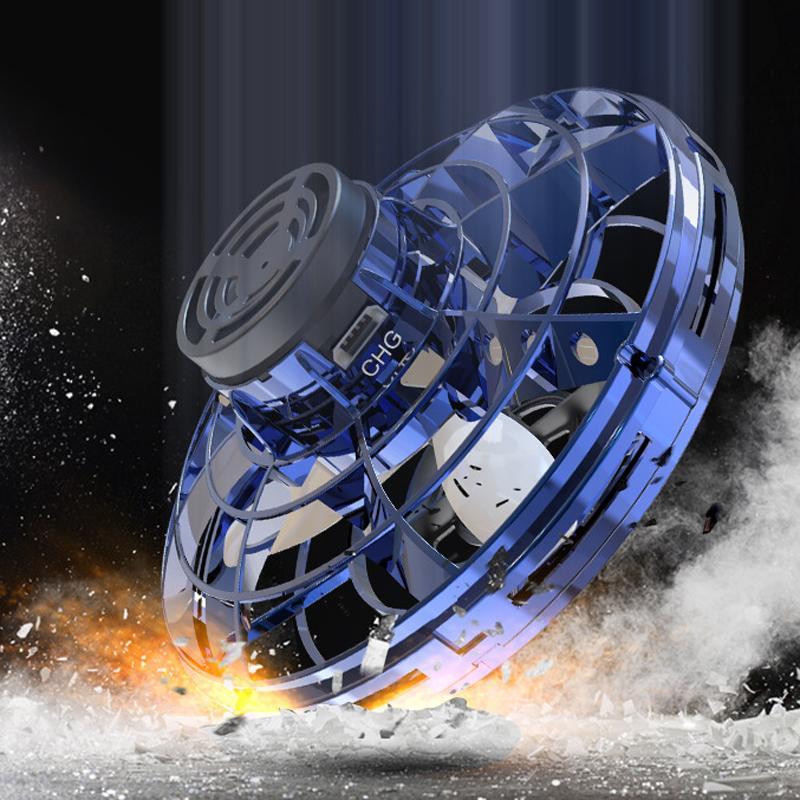 FlyNova UFO niños de juguete Portable adulto Mano Operado 360 ° Rotación de Spinning regalo de Navidad Destello luces LED Juguete Juguetes 07