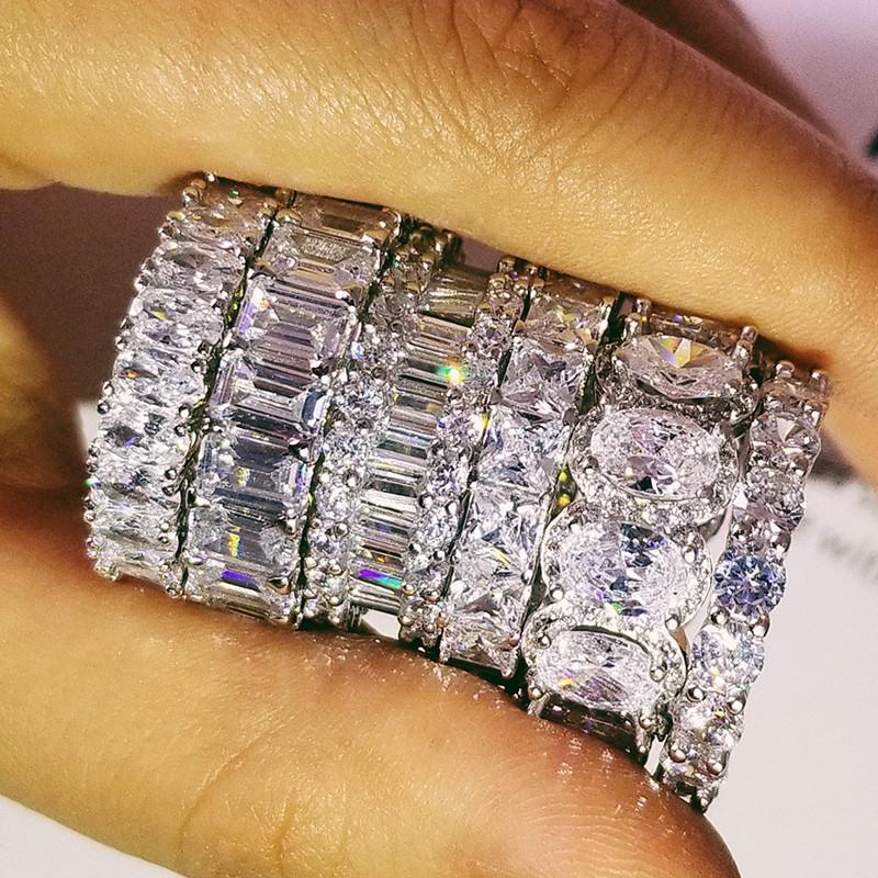 التصميم الأصلي 925 فضة خاتم الزواج الخلود للمرأة الصلبة الاشتباك الذكرى الأزياء والمجوهرات R4876S