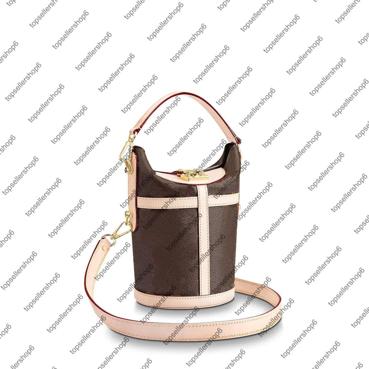 M43587 واق حقيبة يد حقيبة يد نساء جلد البقر الطبيعي ق قفل قفل قماش دلو الكتف حقيبة محفظة عبر الجسم رسول حقيبة