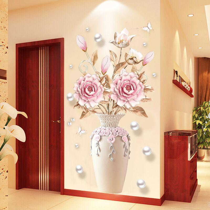 Flower Vase Floral Wall Stickers Living Room Decoration PVC Removable Wallpaper