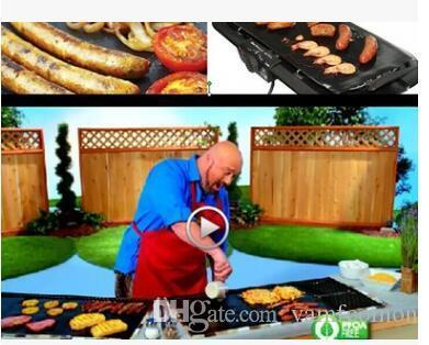 opp bag Barbece Barbecting Liner Teflon Bbq Grill Matt Portable Non-stick and Reusable Make Grill Easy 33 * 40CM 0.2 MM Black Oven Mats