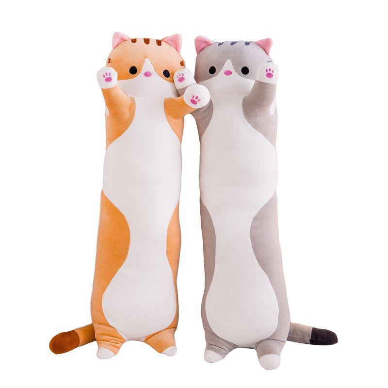 110cm 쿠션 고양이는 베개가 긴 필수 크리스마스 선물 귀여운 인형 플러시 장난감 침대 베개 침실 베개 자고 함께