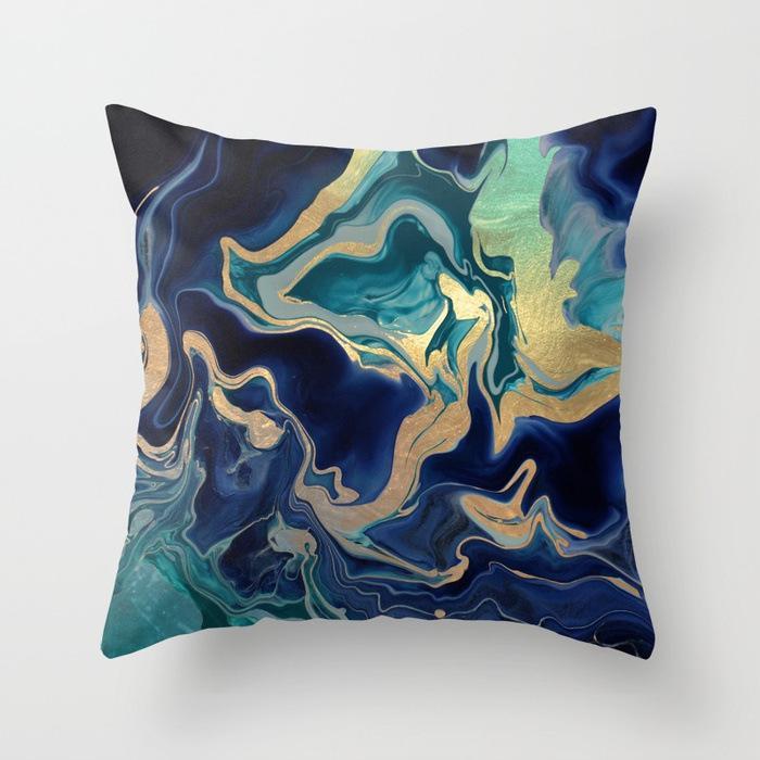 Padrão de mármore Nordic geométrica decorativa Pillowcase Peach Velvet microfibra travesseiro capa de almofada para Car Home Living Room