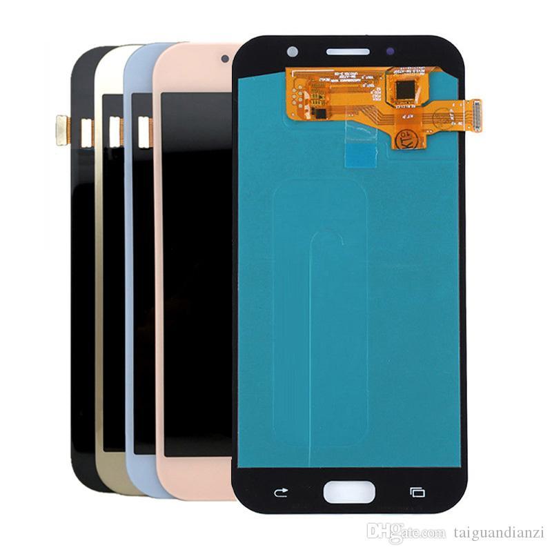 Süper AMOLED Telefonları Ekran Samsung Galaxy Için A7 2017 A720 A720F A720M Lcd'ler Dokunmatik Ekran Digitizer Meclisi LCD Değiştirme