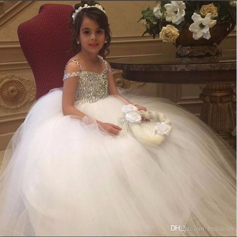 Холодные Плечи Кристалл бисера цветок девочки платья для бальное платье Свадьбы Тюль Дешевые Первое Причастие Платья для девочек Платья Pageant