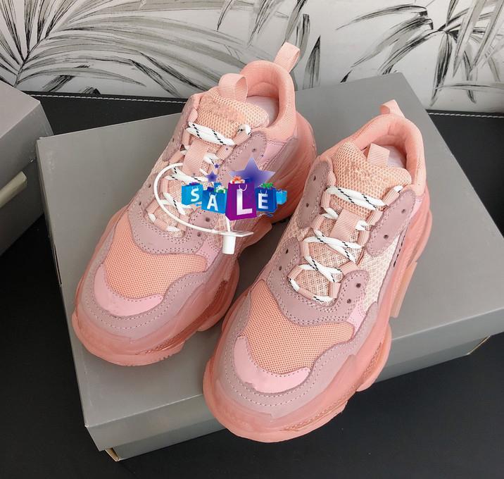 2020 nuova moda di Parigi 17FW Triple S Sneakers cristallo Boots inferiore di lusso per le donne Green Men Bianco Vintage Old papà nonno pattini casuali B35