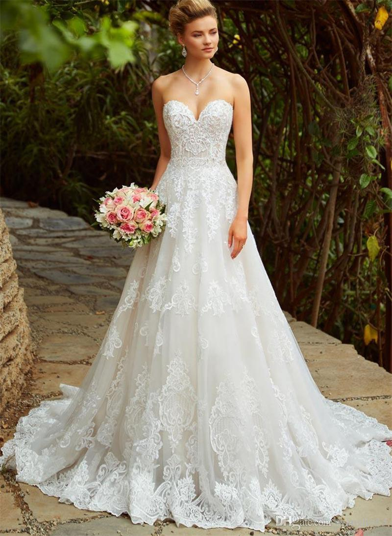 Sweetheart Wedding Dresses Lace Appliques Bridal Gowns Beaded for Bride Dress Tulle Corset Strapless