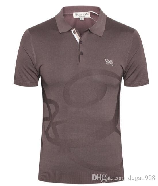 Castello d'Oro kurzärmliges T-Shirt Herren 2019 Sommer neue Mode Reißverschluss lässig gesticktes dünnes Hemd