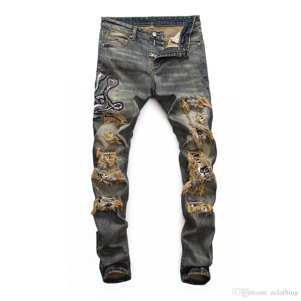 2020 nuevos pantalones vaqueros de diseño de los hombres de los pantalones vaqueros para hombre de lujo rasgadas flacas fresco agujero chico causal de mezclilla hombres de la moda s vaqueros de mezclilla de diseño de lujo Pantalones de los hombres