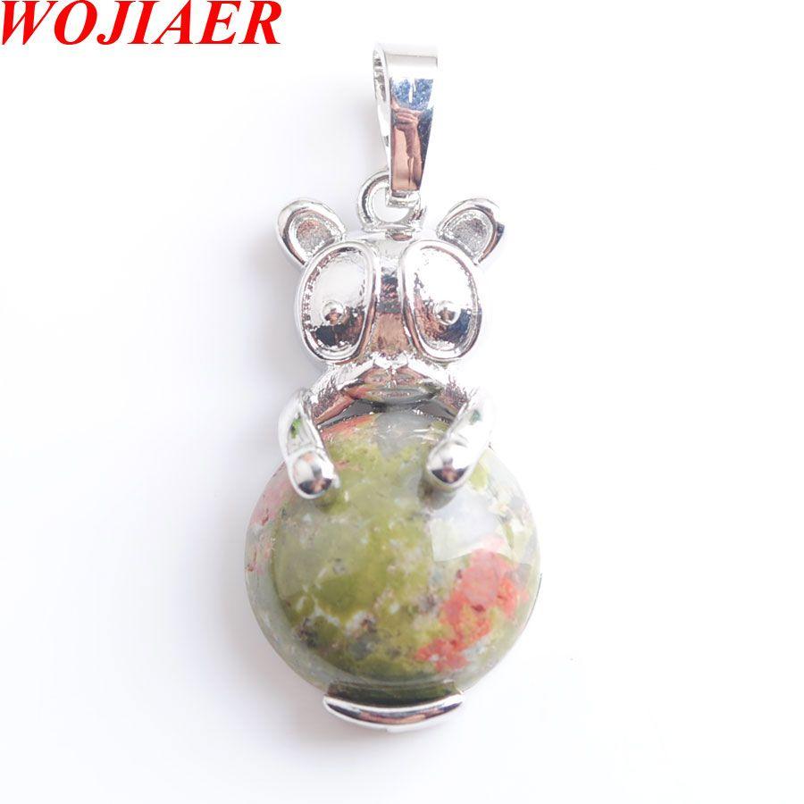 WOJIAER Cute Natural Unakite Jasper Animal The Rabbit Pendant & Necklaces bead Round Gem Stone Fashion Jewelry for Women DN8030