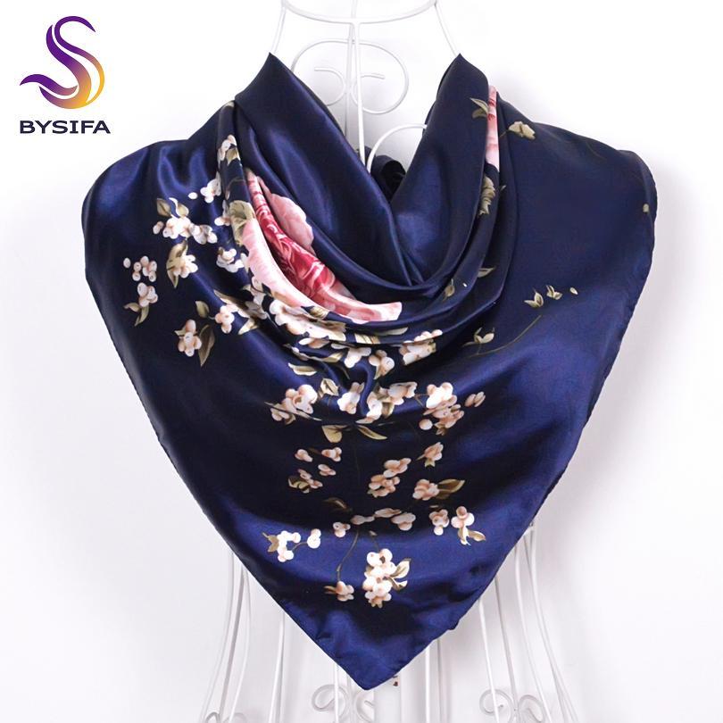 [BYSIFA] Navy Blue Rose cinesi grandi sciarpe quadrate nuove donne eleganti grandi sciarpe di seta Accessori moda donna 90 * 90cm C19011001