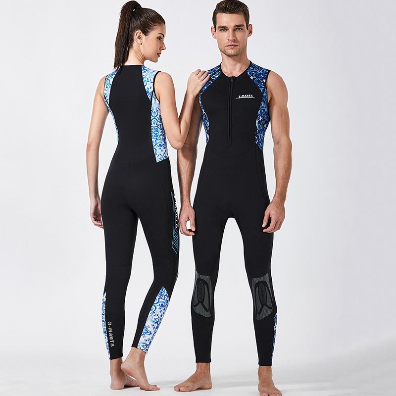 3mm 두께 따뜻한 수영복 여성 스노클링 스포츠 해파리 소송 블루 서핑 조끼 한 조각 남성 잠수복 전신 민소매