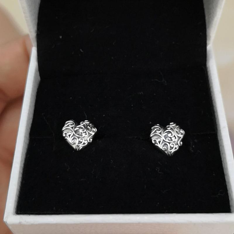 925 Sterling Silver heart earrings Original Box for Pandora Regal Hearts Stud Earrings for Women Girls Gift Jewelry EARRING