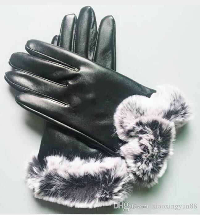 العلامة التجارية الجديدة للنساء جلد الغنم قفازات مشرق الإناث الشتاء الدافئ الأزياء يندبروف قفازات التجمد