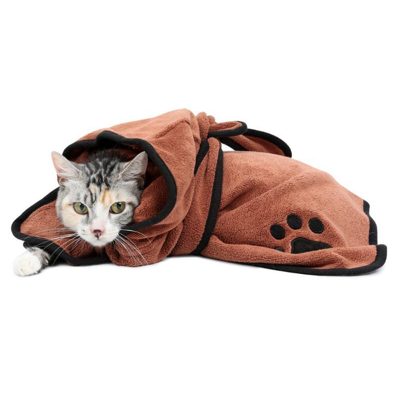 Chien peignoir chaud vêtements pour chiens super Absorbant Pet sèche-serviettes broderie Patte de chat Bois Pet Serviette de bain Toilettage pour animaux Produit