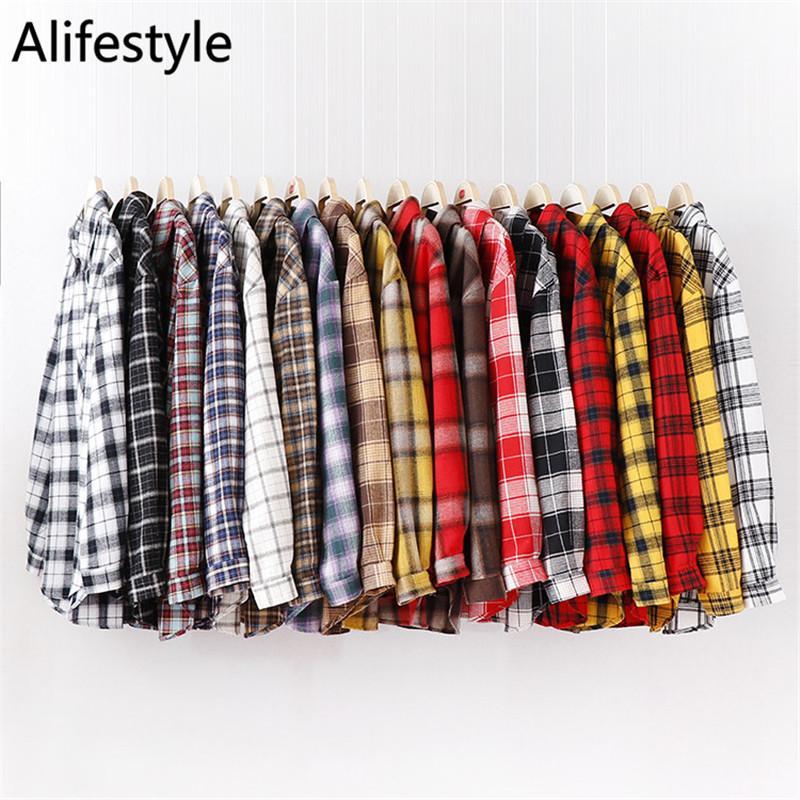 Femmes Plaid Shirts Femme pur coton manches Blouses Tops Fille Mode Femme Blouses amples et confortables Casual