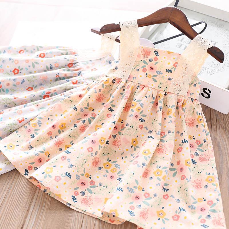 2020 filles d'été imprimé couleur dentelle florale Robe en gros Vêtements pour enfants