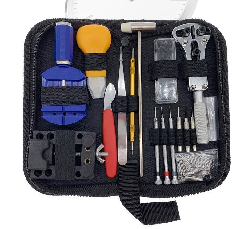 إصلاح 147pcs المهنية ووتش مجموعة أدوات ووتش القضية مرة أخرى حامل فتاحة الساعاتي أداة كيت مع حقيبة حمل