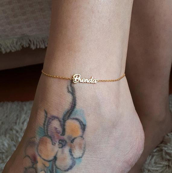 Dainty Gold Color 사용자 정의 발목 맞춤형 맞춤형 맞춤 보석 BFF 용품 Nameplate Anklets 여성 발 팔찌 Cheville