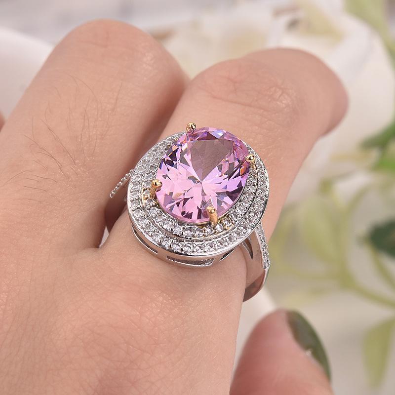 Zhenrong 소원 아마존의 새로운 유럽과 미국의 거위 알은 마이크로 상감 다이아몬드 반지 우아한 시뮬레이션 다이아몬드 반지 결혼 여성 모양
