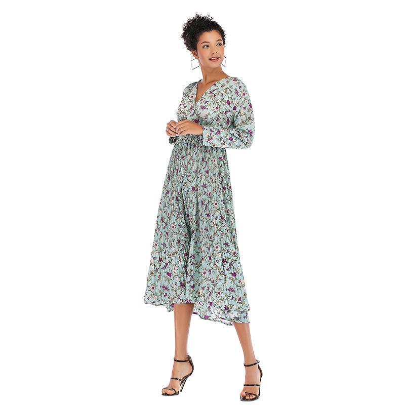 Women's Clothing A Generation of V Collar Small Shredded Flower Pleated Chiffon Dress Waist Long Sleeve Bottom Skirt Girl