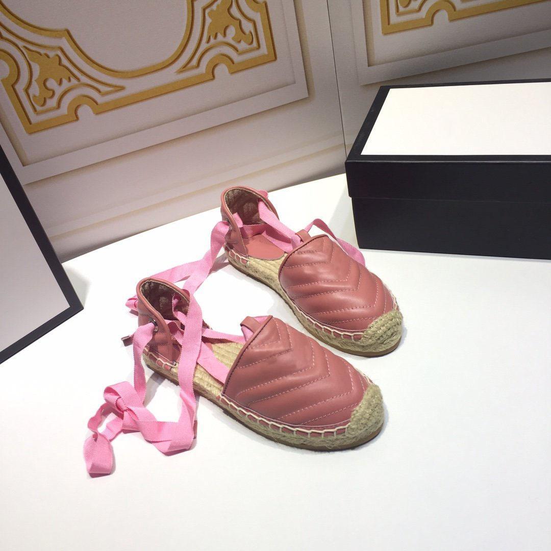 Новое поступление мода женщины рыбак обувь бренд дизайнер выдалбливают лодыжки ремни повседневная обувь соломенное плетение нижняя женская одиночная обувь