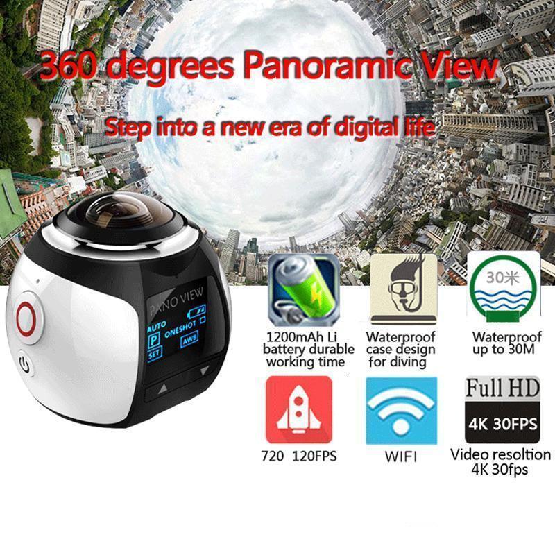 WHOLEASLE 360 درجة الكاميرا الرياضة البسيطة بانوراما VR كاميرا 2.7K واي فاي 30M الرياضية للماء الغوص Actoin كاميرا V1 الشحن مجانا