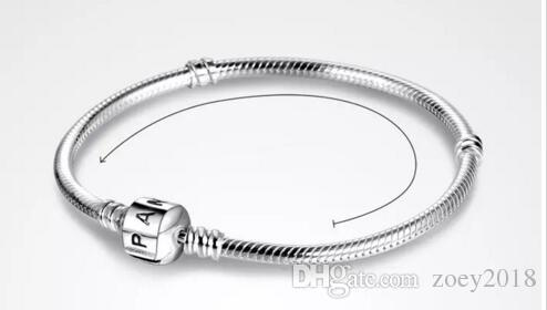 2018 PAN 3mm 16-23cm 925 Silver Plated Bracelet Chain with Barrel Clasp Fit European Beads Pan Bracelet wholesale Snake Chain