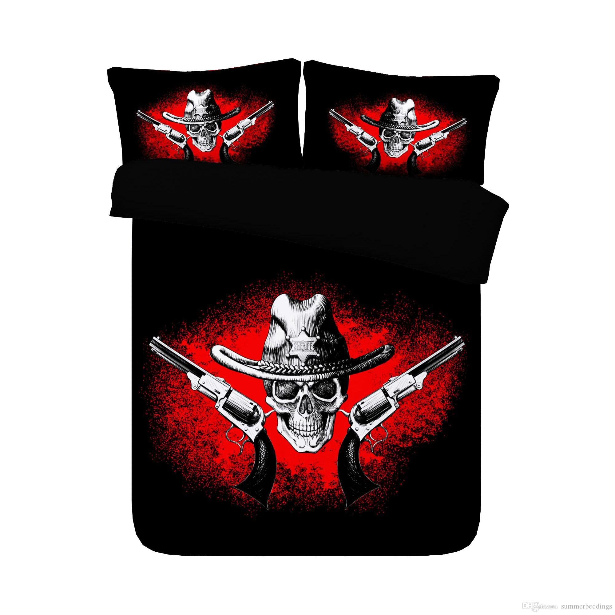 Music Decor Skeleton Duvet Cover Set 3 Piece Bedding Set With 2 Pillow Shams Skull With Headphones Record Player Mic Speakers Print