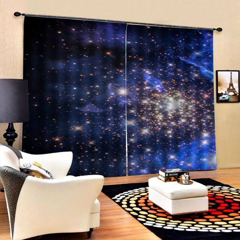 New personalizados estrelas azuis cortinas Blackout nova janela bay varanda pára-brisa engrossado apagão cortinas
