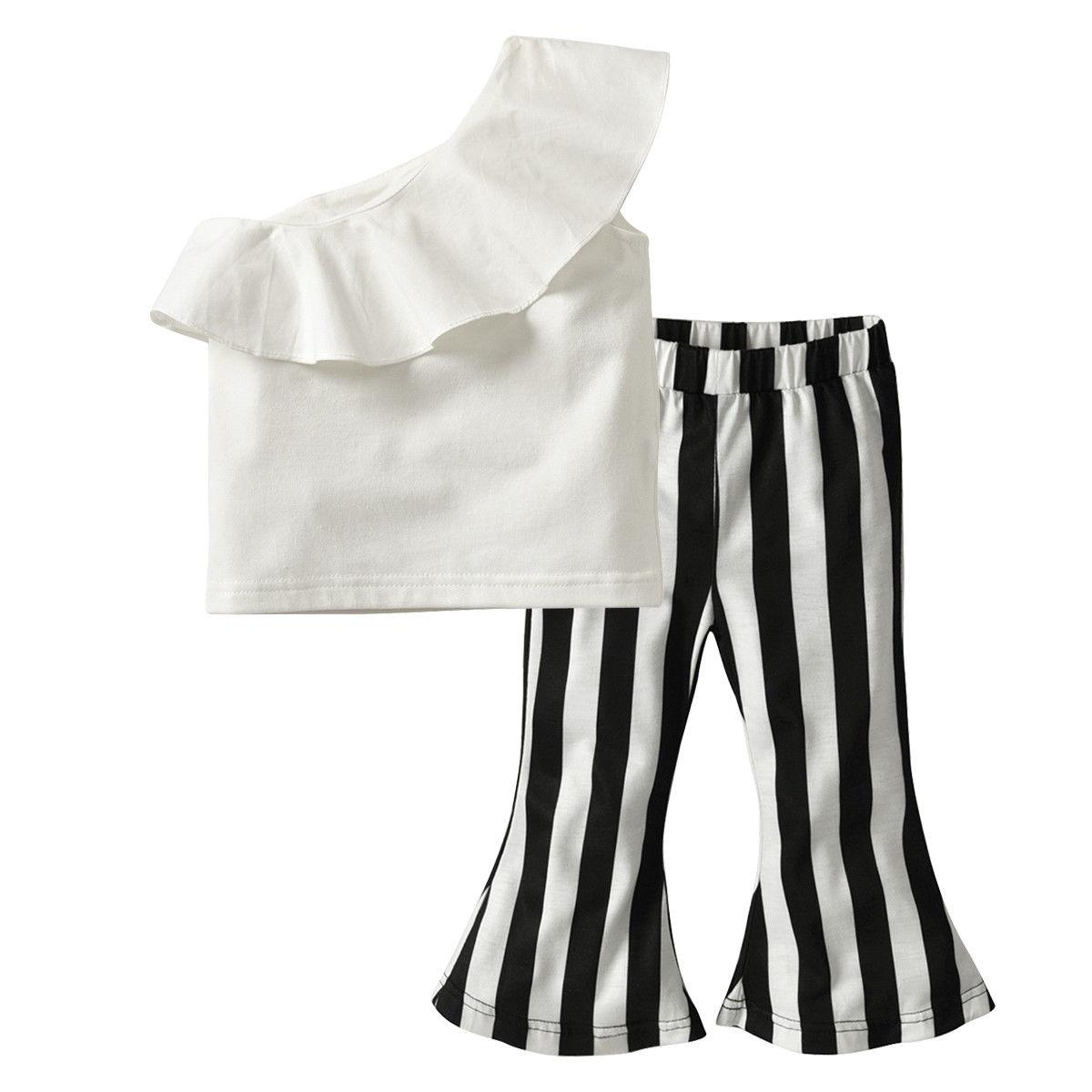 New Style Kid Girl Summer Clothes Baby Girl Ruffle One Shoulder Tops Stripe Flare Long Pants Toddler Children Outfit Clothes Set