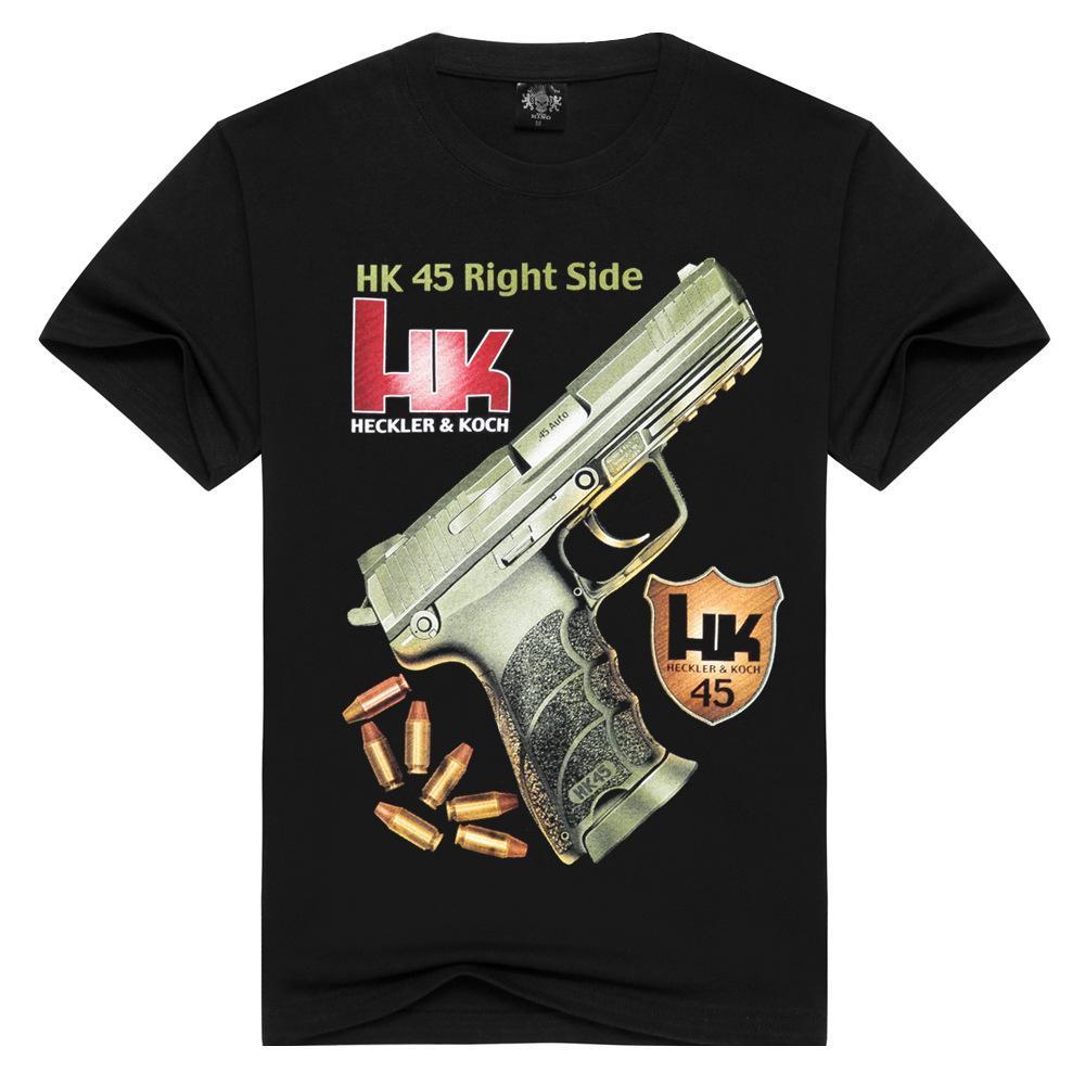 deportes camiseta de algodón de manga corta diseñador patrón arma negro de cuello redondo de algodón de roca de las mujeres y los hombres de manga corta camiseta de los hombres # 094