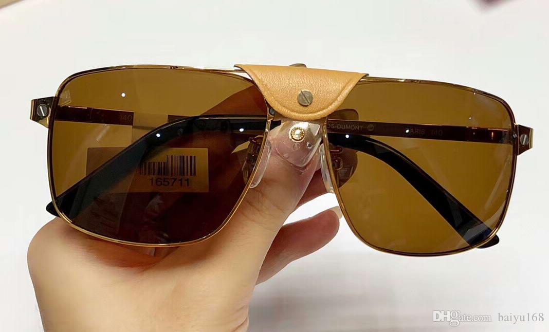 Металлические дизайнер коричневые золотые оттенки солнцезащитные очки квадратные очки новые солнцезащитные очки Линзы UV400 защитные очки солнце с коробкой Weqjh