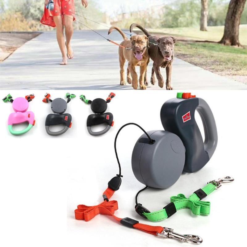 Dupla Headed Pet trelas automática retrátil Dogs Traction Rope Double Dog criativa Walking Leash Cadeia Animais Supplies