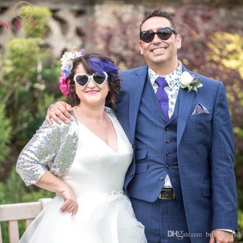 Payetli Düğün Ceketler Altın Ve Gümüş Custom Made Boyutu Ucuz 2019 Popüler Yetişkin Üç Çeyrek Kollu Kapaklı