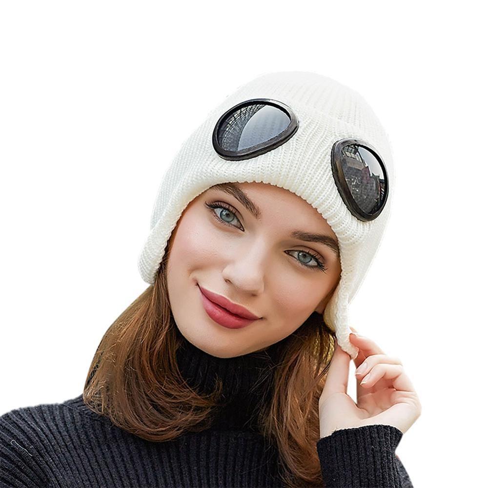 Katı Renkler Kış Örme Caps Skullies kasketleri Cap İçin Kadınlar Erkekler Çift Çıkarılabilir Gözlük Cap Yeni Açık Şapkalar