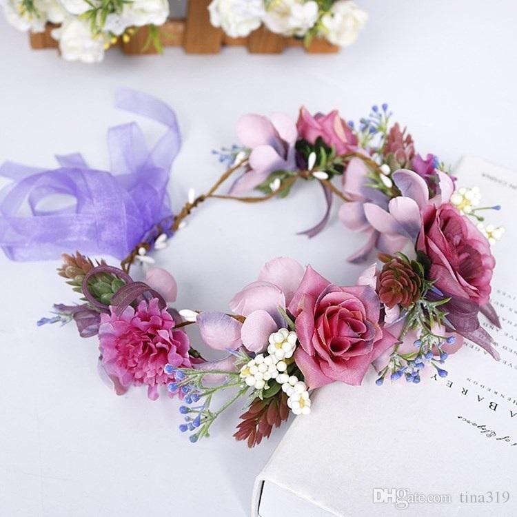 Simulación romántica Flores diadema JewelryT2I5613 caliente del pelo de novia guirnaldas decorativas Flores decoración de la boda del tocado de los niños