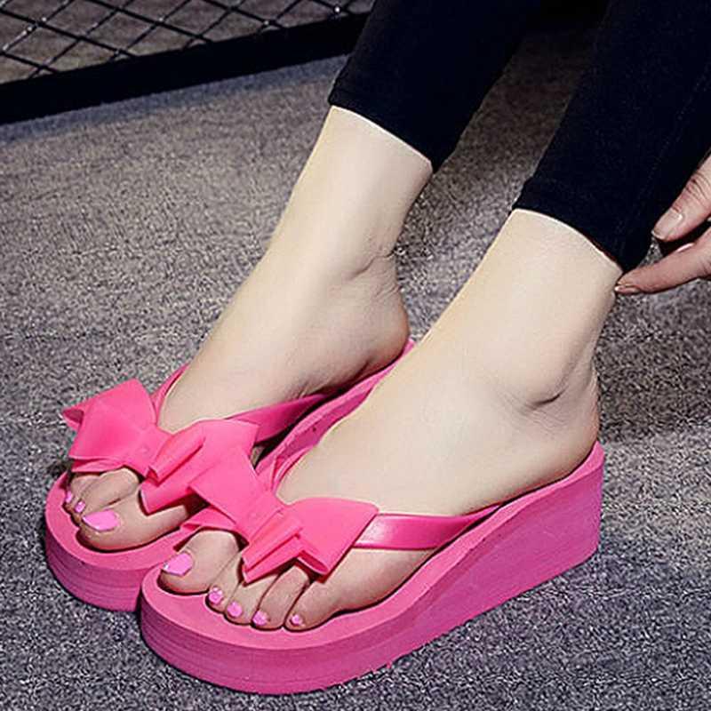 New Summer Flip Flops Women Fashion Sandals Shoes Beach Slippers Bow Mid Wedge Heel Flip Flops Lady Slippers Black