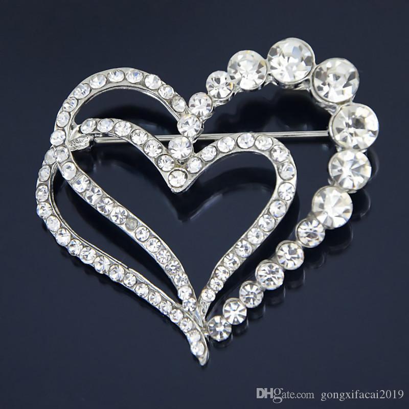 Ma'am Altın Kaplama Aşk Elmas Broş Hediye Kalp Şeklinde Broş Rhinestone Şeftali Teşekkürler İğne
