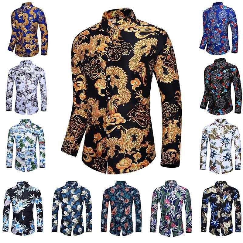2020 شاطئ الصيف العلامة التجارية قميص رجالي هاواي طويلة الأكمام زائد حجم الأزهار قمصان الرجال عادية عطلة عطلة الملابس Camisas