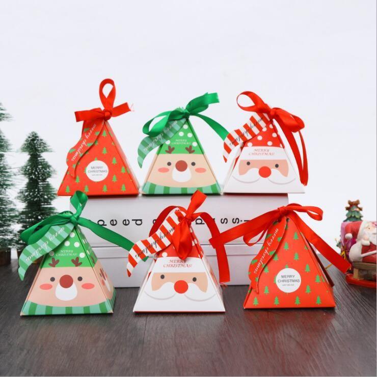 Weihnachtssüße Süßigkeitskästen Geschenkverpackungen Papiere Taschen Xmas Party Hochzeit Tablett Verpackung Box Mit Band Seil Tischdekoration
