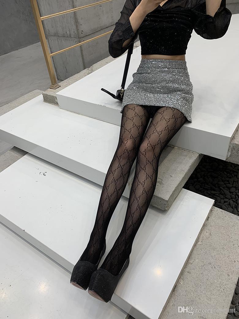 Bas 2020 tendance Ms personnalité lettre ultra-mince impression mode Net Sexy fil anti-crochet nouveau style Pantyhose