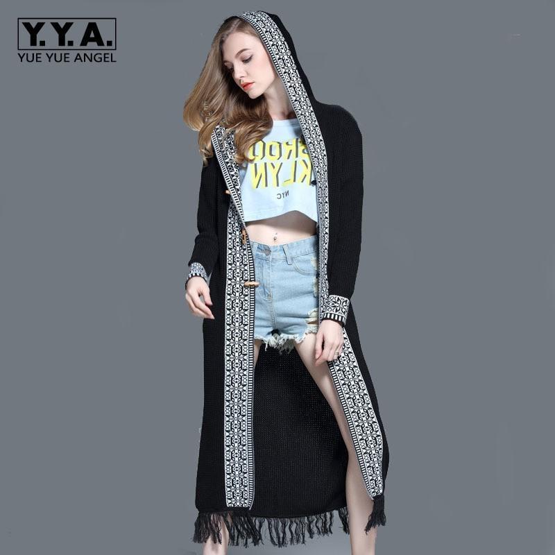 Escudo 2020 Nueva floja ocasional borla Abrigos Para Mujer manga de estilo bohemio mujeres abrigos de moda suéter de punto con capucha larga