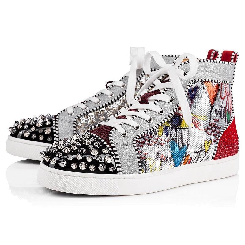 2020 sapatos de grife de couro das mulheres dos homens fundos planos luxo Studded Spikes moda Red camurça Partido dos amantes Sneakers tamanho 36-46 com caixa lll