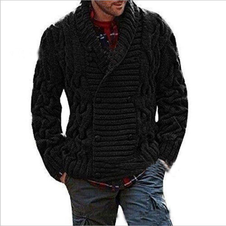 Erkekler sonbahar kış kazak uzun düz renk hırka tişört V yaka kruvaze moda rahat gevşek üst sleeve